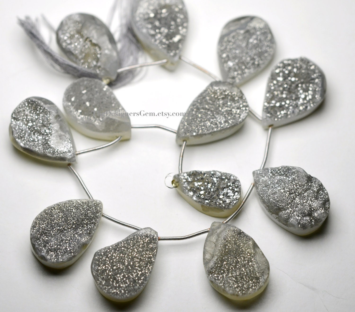 Sparkling Gray Silver Druzy Top Drilled Pear Shape Briolettes 23 x 14mm to  29 x 19mm -1/2 STRAND - TheDesignersGem