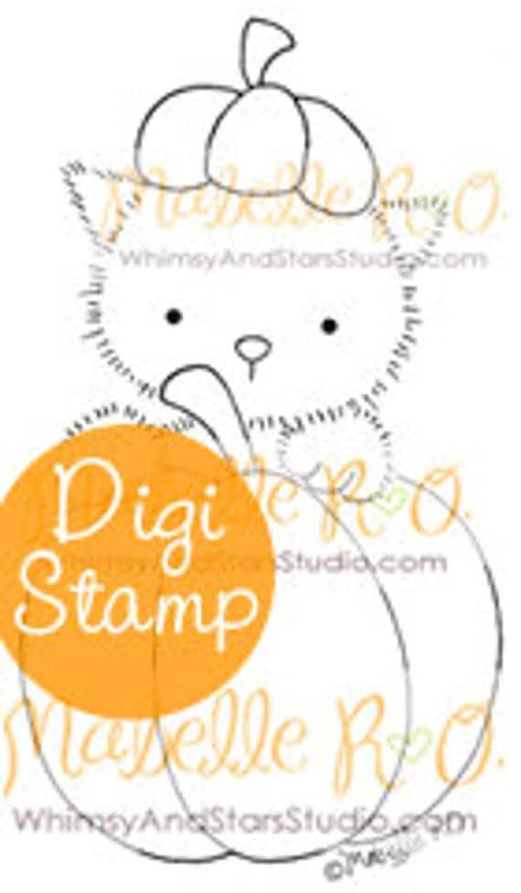 Instant Download Digital Stamp: Pumpkin Kitty