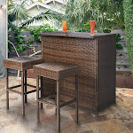 Best Choice Products 3-Piece Wicker Bar Set, Brown
