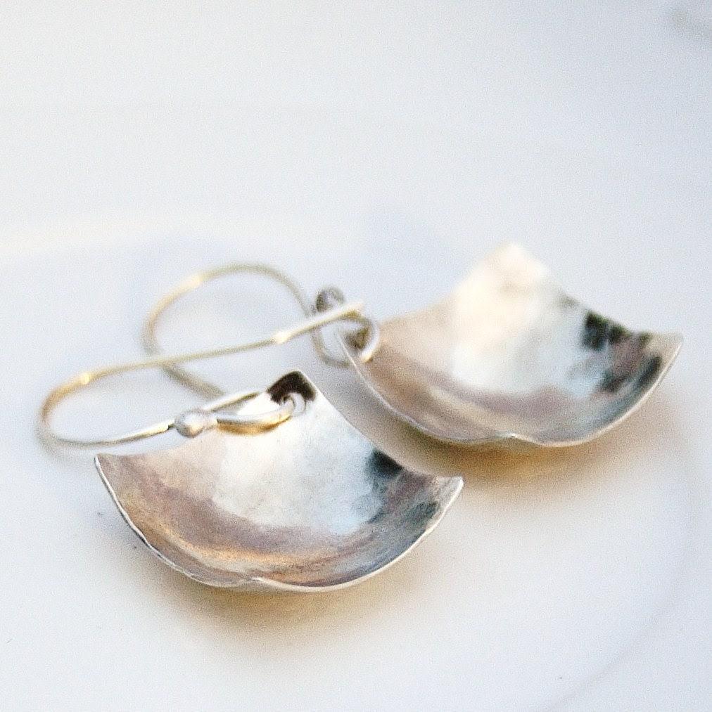 Handmade Sterling silver square earrings - BlueberryCream, серьги, сережки
