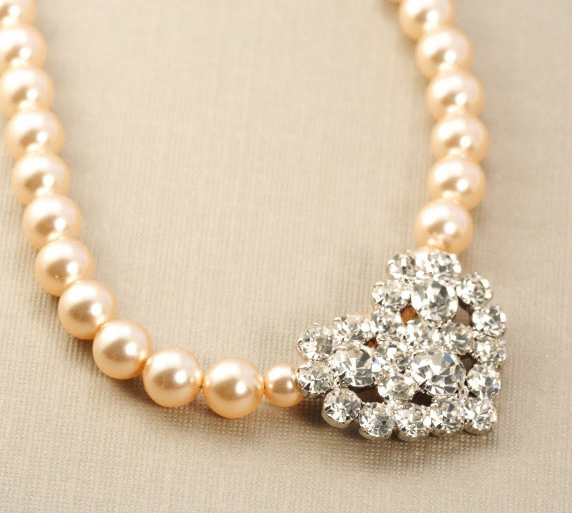 Blush Pearl and Rhinestone Bridal necklace