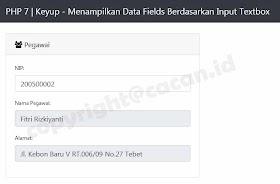 Menampilkan Data Fields Berdasarkan Input Textbox PHP 7 oleh - seputarphp.xyz