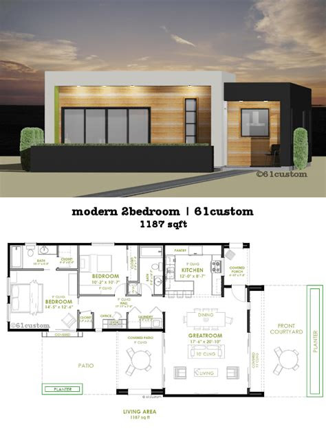 modern  bedroom house plan custom contemporary