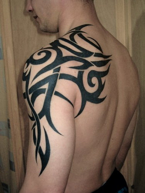 Man Left Arm Tribal Tattoo