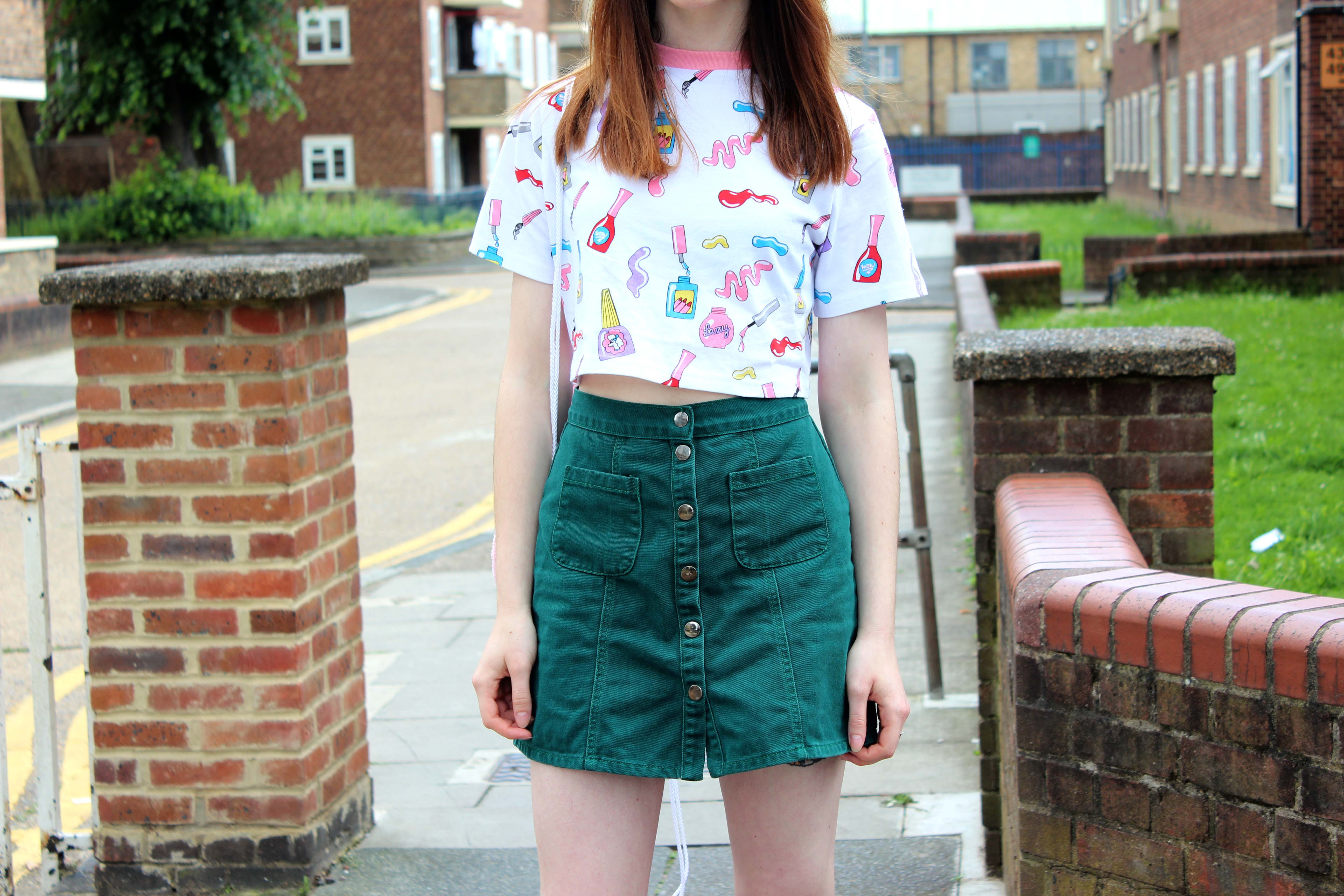 Lazy Oaf lipstick crop top and an Urban Outfitters a-line skirt