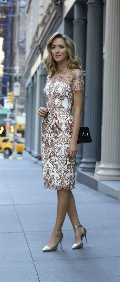 Rehearsal Dinner Dress for the Bride. Rose gold and white