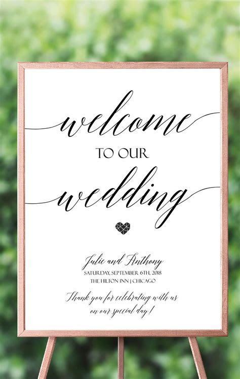 Simple Script Welcome Wedding Sign, Elegant Script Welcome