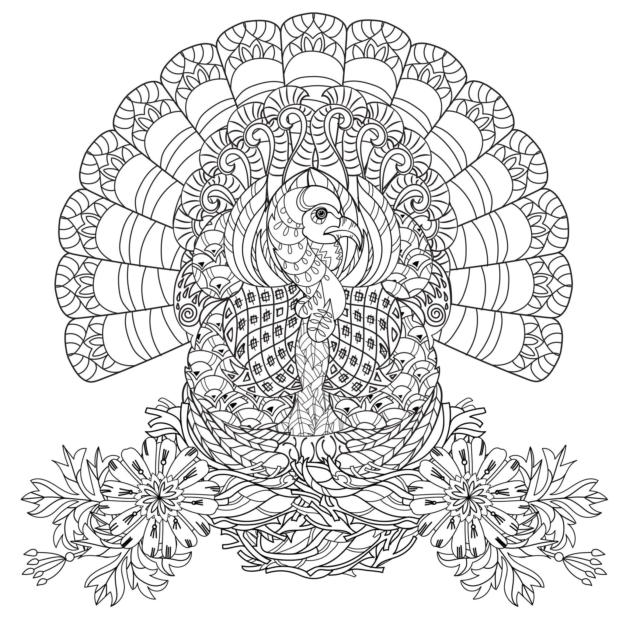 Thanksgiving Coloring Pages For Adults  Coloring Home