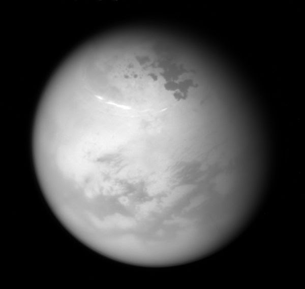 An image of Titan's northern hemisphere...as seen by NASA's Cassini spacecraft from 315,000 miles (507,000 kilometers) away, on June 9, 2017.