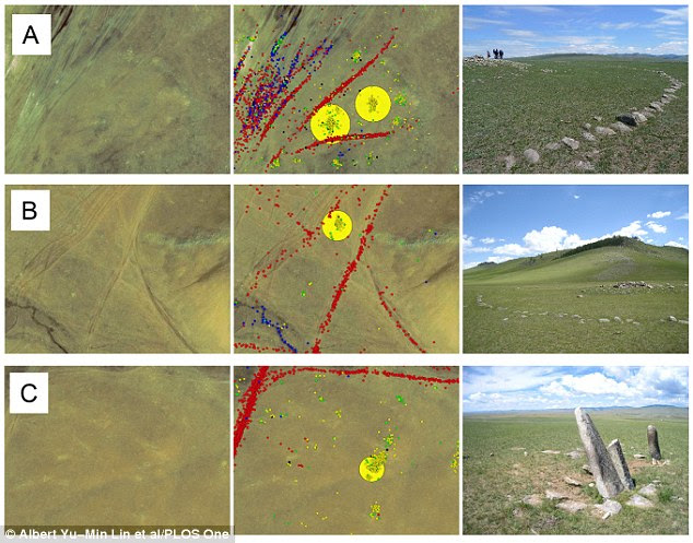 The satellite images helped the archaeologists find 55 sites that were archaeologically interesting like a circular khirigsuur burial mound (labelled A and B), and stone megaliths known as 'deer stones' (labelled C)