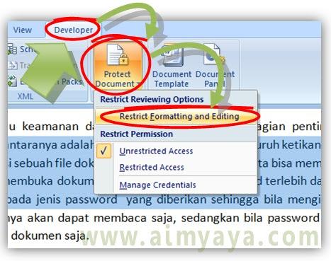 Gambar: Cara proteksi sebagian ketikan di Microsoft Word
