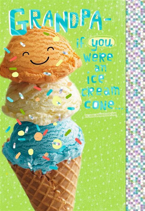 Triple Scoop Ice Cream Cone Father's Day Card for Grandpa
