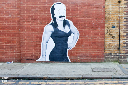 Australian Street Artist Drabs large scale Wheat-pasted Posters in Shoreditch