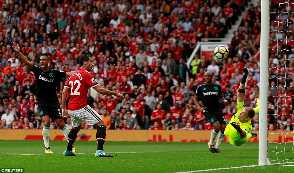 Mkhitaryan believes he has made it 3-0 after scoring but sees his effort ruled out as assister Rashford was offside