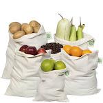 ORGANIC COTTON Reusable PRODUCE BAGS - Muslin Produce & Cotton Bulk Bags - 2 LARGE | 2 MEDIUM | 2 SMALL | Organic Cotton Mart