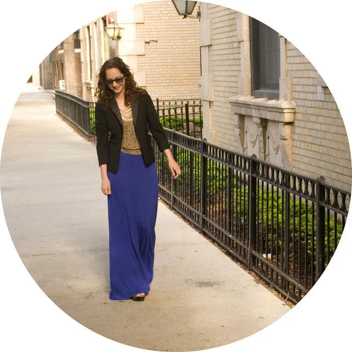 blue maxi dress, style blogs, baby phat, blazer with long dress, ootd, what to wear with, tuxedo blazer, print tank
