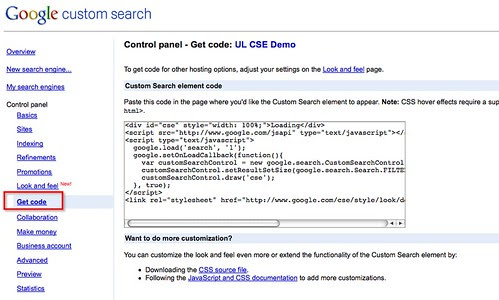 Embed code for google cse