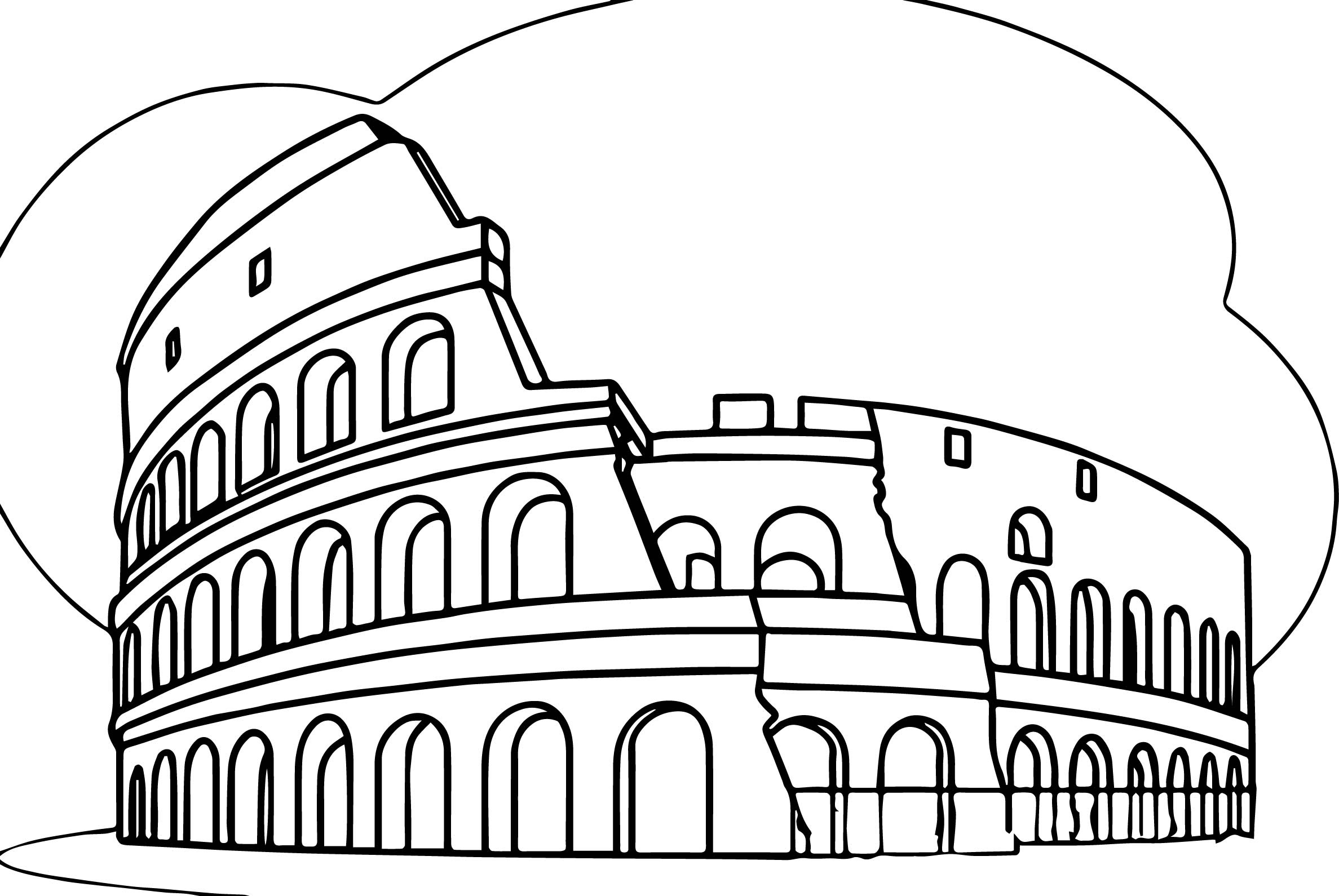Roman Colosseum Italy Wonders World Coloring Page ...