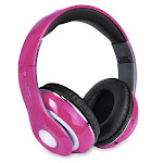 Bluetooth Wireless Headphones with Built In FM Tuner, Memory Card Slot and Mic - Pink