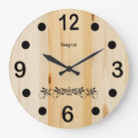 Personalize Butcher Block Wood Wall Clock