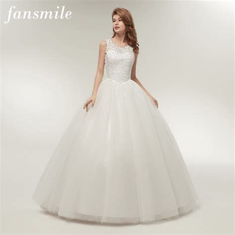 Fansmile Korean Lace Up Ball Gown Quality Wedding Dresses
