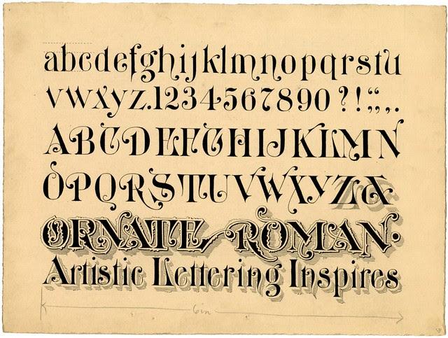 ink design of writings script - Ornate Roman