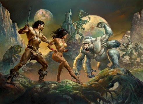 John Carter & Dejah Thoris vs. a Martian White Ape: art by Boris Vallejo & Julie Bell