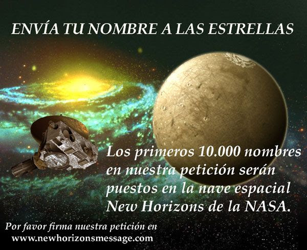 A New Horizons Message Initiative poster in Spanish.