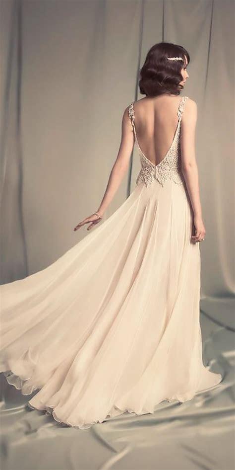 boho vintage wedding dresses flowy low back lace beaded