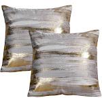 ANVI Home ITV-181-GOL Velvet Foil Print Pillow Cover Gold - Set of 2