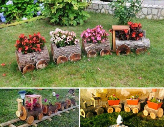 Imagem: Wooden Log Train Planter Idea Pictures, Photos, and Images for ...