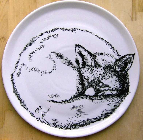 Plate - Hand Drawn Serving Plate - Sleeping Fox