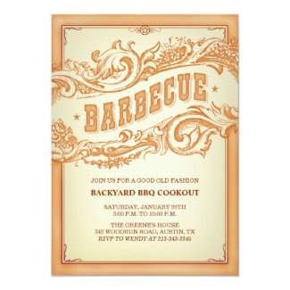 "Authentic Old Western BBQ Invitation 5"" X 7"" Invitation Card"