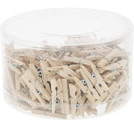 Mini Wooden Clothespins - 200 Pieces Pegs With Natural Wood Finish - Ideal For Crafts, Photo Clips, Home Decoration, And More, Tan Color - 0.9 Inches