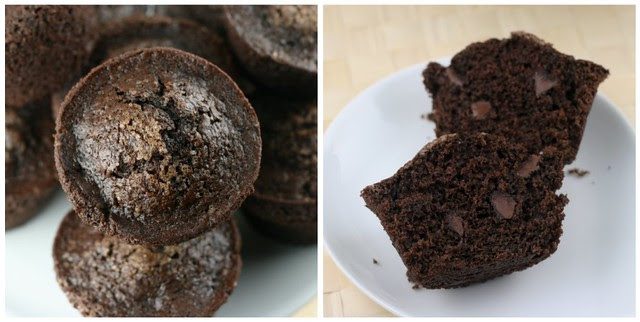 Chocolate Breakfast Muffins - collage 1