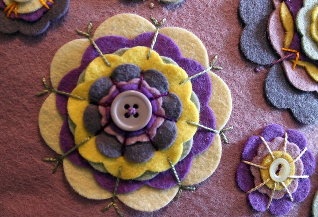 Purple and Yellow Felt Flowers