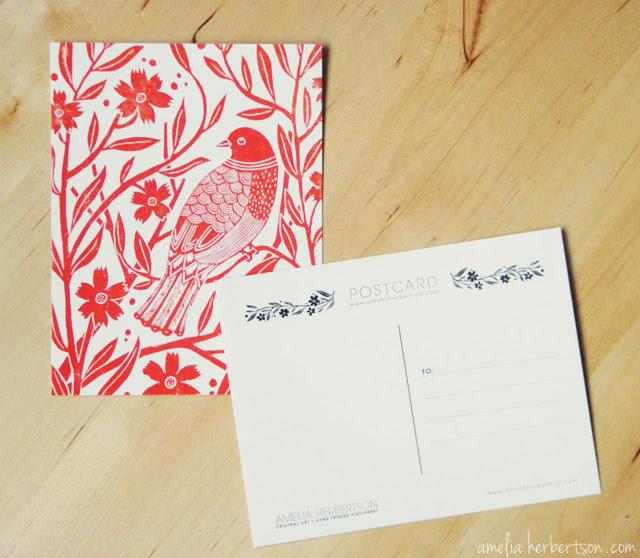 Postcard featuring my Red Bird linocut