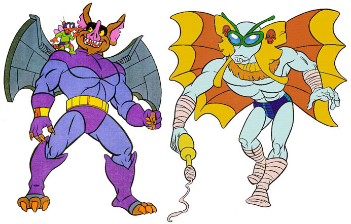 (TMNT Spinoff) ..Mutanimals The Animated Series! - Wingnut,Screwloose & Lunawing ((Comic Book Colours)) ..[[Courtesy of Ryan Brown]] ((1992))