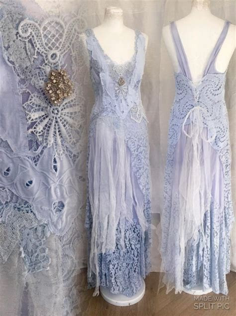 Light Blue Boho Wedding Dress, Airy Romantic Feminine