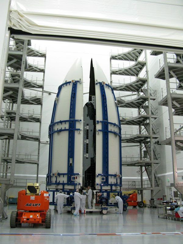 The OTV is shown inside its Atlas V payload fairing during encapsulation, ahead of its March 2011 launch from Cape Canaveral Air Force Station in Florida.