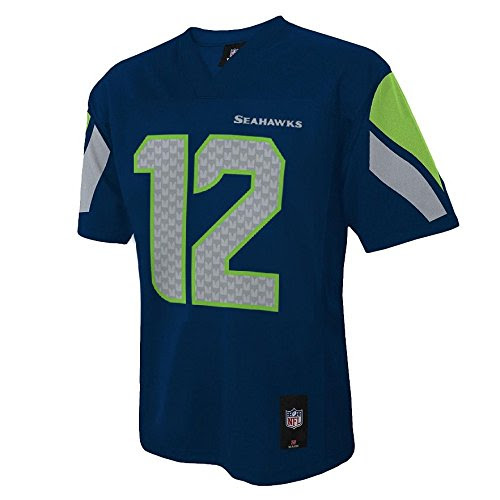 Seattle Seahawks 12th Fan NFL Youth MidTier Team Jersey Navy Youth Medium 10/12 Apparel