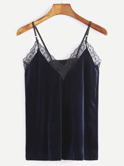 Navy Lace Trim Velvet Cami Top
