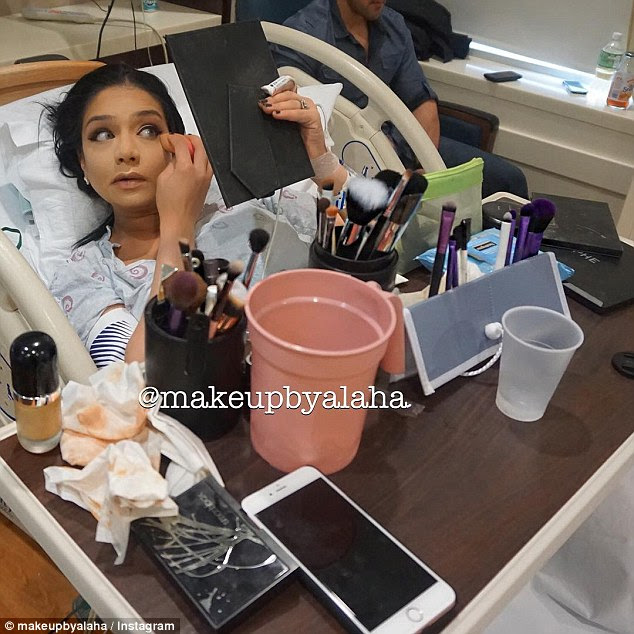 Make-up-loving mom-to-be: Beauty lover Alaha Majid took the time to apply a full face of cosmetics while she was in labor in the hospital
