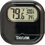 Taylor 1700 Digital Indoor/Outdoor Thermometer, Black