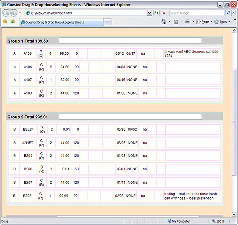 Housekeeping Schedule Utility) Guest Technologies .:. GuesTec.com ...
