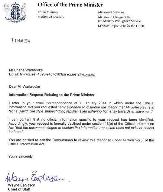 solicitud ley informacion oficial El Primer Ministro de Nueva Zelanda declara públicamente que no es un ser reptiliano