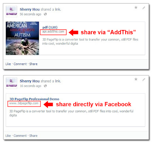 How to share my 3D page flip book on Facebook, Twitter or iGoogle?