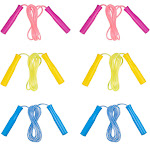 Juvale 6- Pack 8-Feet Colored Skipping Jump Ropes for Kids, Play, Fitness, Games, and Party Favors, 3 Colors, Pink, Yellow, and Blue