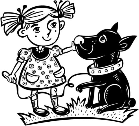 4700 Top Colouring Pages Girl And Dog , Free HD Download