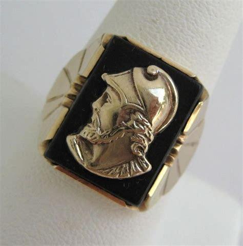 Black Onyx Signet Cameo Mens Ring 10k Gold Roman Soldier